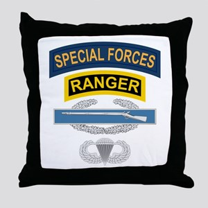 SF Ranger CIB Airborne Throw Pillow